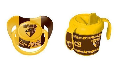 Set Of 2 Hawthorn Hawks AFL Team Logo Infant Baby Dummy Pacifier & 2 Handle 250ml Training Sippy Sipper Cup