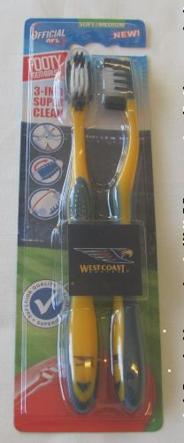 West Coast Eagles Twin Pack AFL Toothbrushes