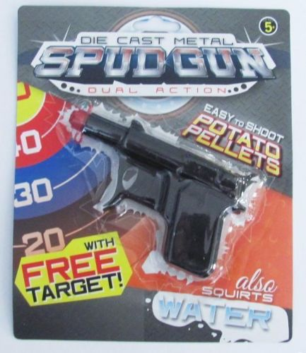 Die Cast Metal Spud Gun Potato Shooter Dual Action Easy to Shoot Pellets Also Squirts Water Novelty Toy