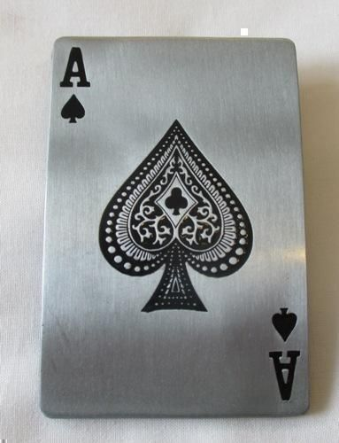 Ace of Spades Playing Card Rectangle Brushed Metal & Enamel Belt Buckle