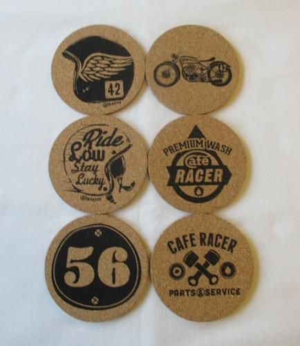 Cafe Racer Workshop Cork Coasters 6 Pack Boxed Great Gift Idea