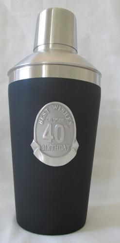 40th Matt Black Cocktail Shaker with Badge Sheild Fortieth  Bar Accessories Great Gift Idea