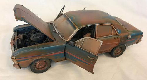 *CUSTOMISED* One Off Custom Model Barn Find Weathered And Rusted - Ford XY Fairmont Grand Sport 1:18 Scale Model Car