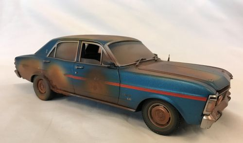 *CUSTOMISED* One Off Custom Model Barn Find - Ford XY Fairmont Grand Sport Electric Blue Die Cast Model Car 1:18