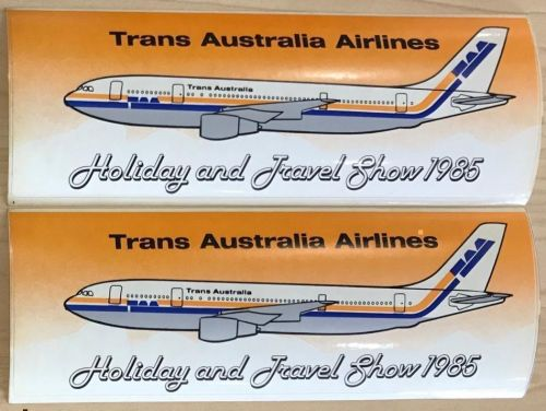 Trans Australia Airlines TAA Original Set of 2 Holiday and Travel Show Bumper Stickers 1985