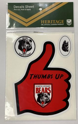 North Sydney Bears Heritage NRL Set of 6 Thumbs Up Decals Car Stickers