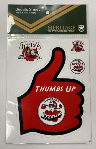 Illawarra Steelers Heritage NRL Set of 6 Thumbs Up Decals Car Stickers