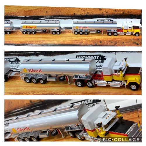 SHELL Highway Replicas Tanker Road Train Die Cast Model Truck With Additional Trailer & Dolly 1:64