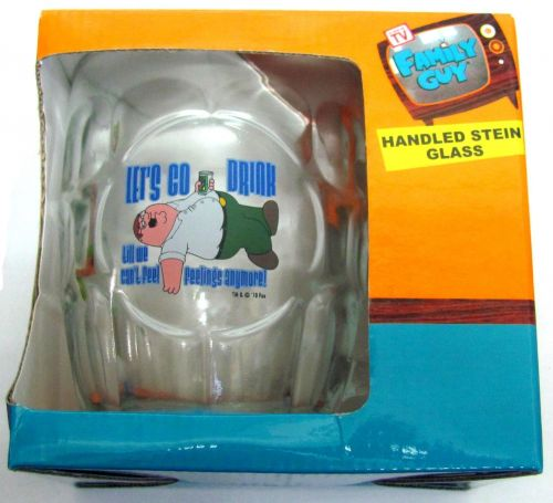 Family Guy Peter Griffin Let's Go Drink Til We Can't Feel Feelings Anymore Glass Stein Drinking Cup