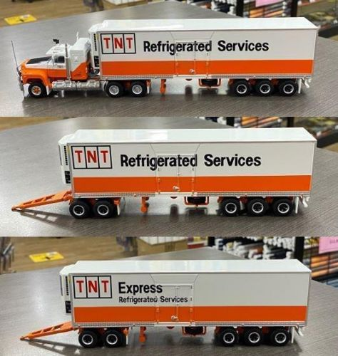 Highway Replicas Mack TNT Express Refrigerated Freight Road Train Die Cast Model Truck With Additional Trailer & Dolly 1:64