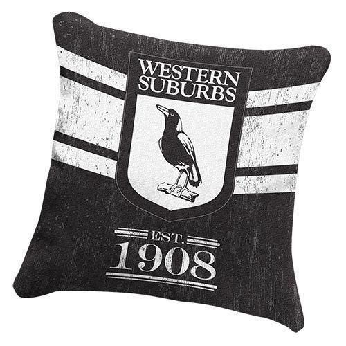 Western Suburbs Magpies NRL Heritage Logo Cushion Square Pillow