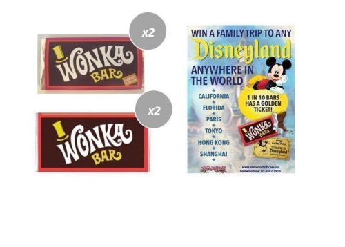 Combo 2 x Caramel & 2 x Milk Chocolate Wonka Bars 50g Edible FIND A GOLDEN TICKET - FOR A CHANCE TO WIN A FAMILY TRIP TO ANY DISNEYLAND ANYWHERE IN THE WORLD