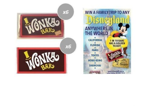 Combo 6 x Caramel & 6 x Milk Chocolate Wonka Bars 50g FIND A GOLDEN TICKET - FOR A CHANCE TO WIN A FAMILY TRIP TO ANY DISNEYLAND ANYWHERE IN THE WORLD