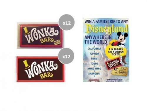 Combo 12 x Milk & 12 x White Chocolate Wonka Bars 50g FIND A GOLDEN TICKET - FOR A CHANCE TO WIN A FAMILY TRIP TO ANY DISNEYLAND ANYWHERE IN THE WORLD