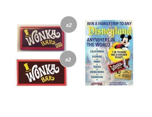 Combo 2 x Milk & 2 x White Chocolate Wonka Bars 50g Edible FIND A GOLDEN TICKET - FOR A CHANCE TO WIN A FAMILY TRIP TO ANY DISNEYLAND ANYWHERE IN THE WORLD
