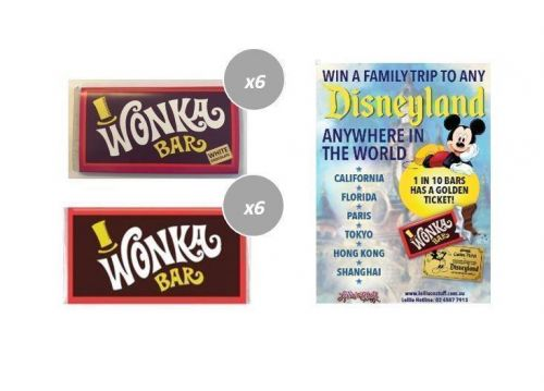Combo 6 x Milk & 6 x White Chocolate Wonka Bars 50g FIND A GOLDEN TICKET - FOR A CHANCE TO WIN A FAMILY TRIP TO ANY DISNEYLAND ANYWHERE IN THE WORLD