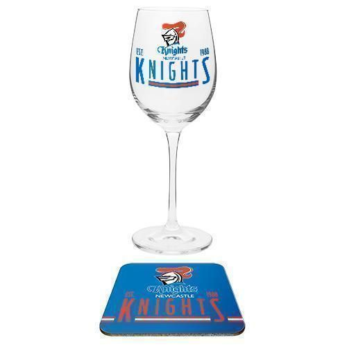 Newcastle Knights NRL Team Wine Glass and Coaster Set