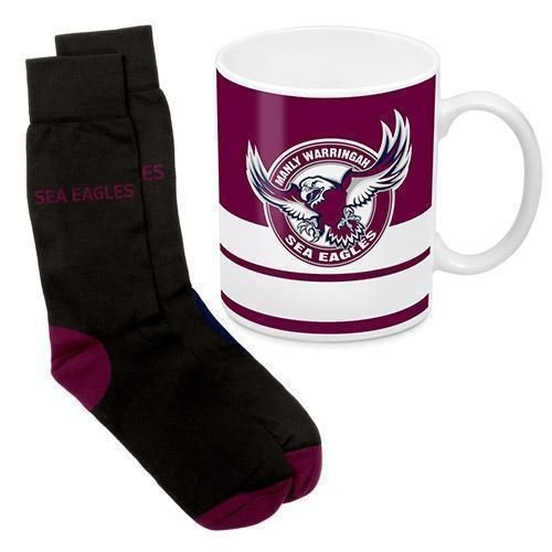 Manly Sea Eagles NRL 330ml Ceramic Coffee Tea Mug Cup And Jacquard Knit Socks to fit Adult (7-11) Sock Gift Pack