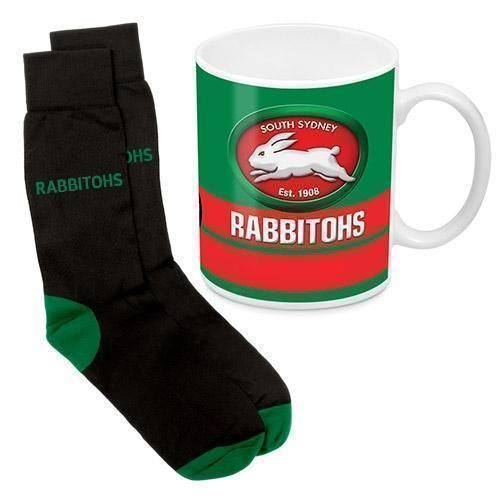 South Sydney Rabbitohs NRL 330ml Ceramic Coffee Tea Mug Cup And Jacquard Knit Socks to fit Adult (7-11) Sock Gift Pack