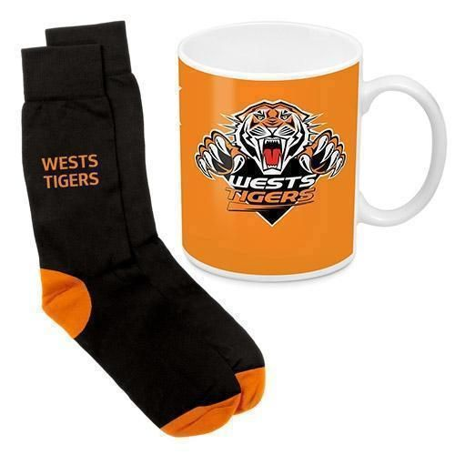 Wests Tigers NRL 330ml Ceramic Coffee Tea Mug Cup And Jacquard Knit Socks to fit Adult (7-11) Sock Gift Pack