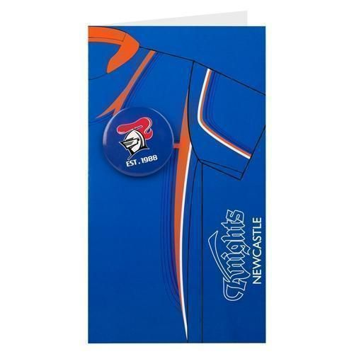 Newcastle Knights NRL Blank Birthday Gift Card With Badge & Envelope