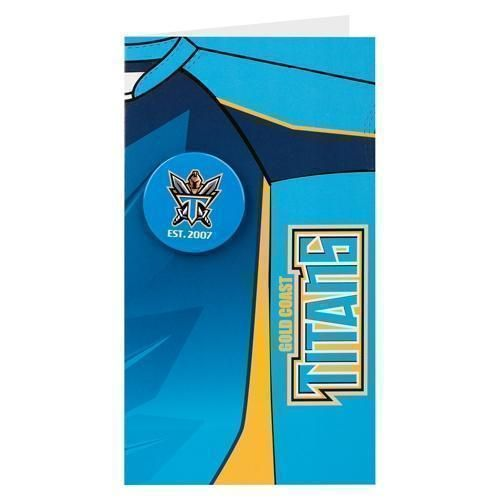 Gold Coast Titans NRL Blank Birthday Gift Card With Badge & Envelope