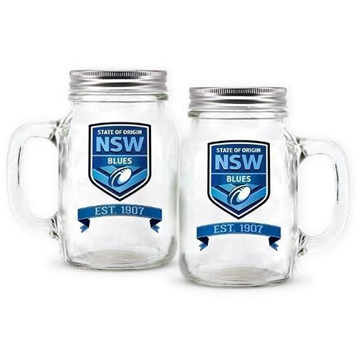 New South Wales NSW Blues State Of Origin NRL Logo 473ml Glass Mason Jar With Handle Glasses Drinking Glass