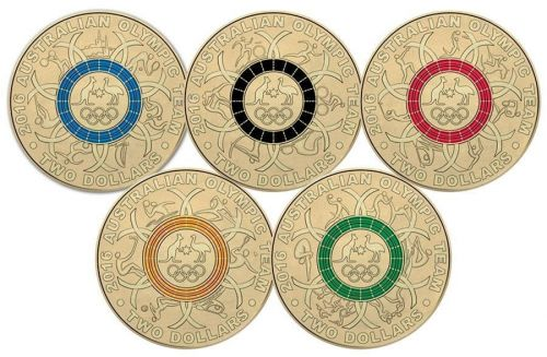Set of 5 2016 $2 Olympic Games Coloured Uncirculated Coins Coin