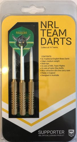 Canberra Raiders Set 3 NRL 23g Steel Tip Darts With 6 Flights Made In England
