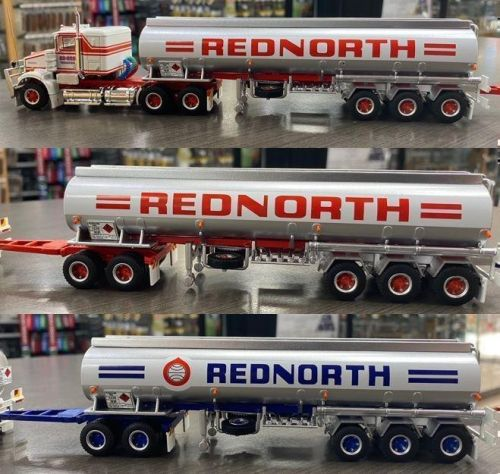 Highway Replicas Rednorth Tanker Road Train Die Cast Model Truck With Additional Trailer & Dolly 1:64 Scale