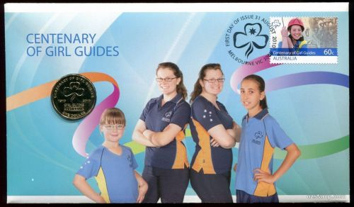 2010 Centenary Of Girl Guides $1 Gold Coin & Stamp Cover PNC