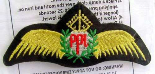 PPL Pilot Gold Wings Embroidered Cloth Patch Applique
