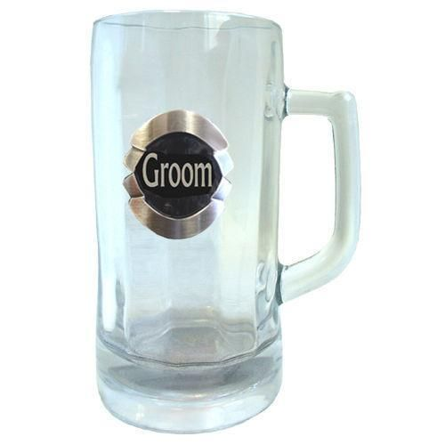 Groom 600ml Glass Stein Beer Mug With Badge In Box Wedding Table Bridal Party Toasting Celebration