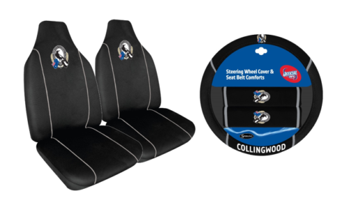 Set Of 2 Collingwood MAgpies AFL Car Seat Covers & Steering Wheel