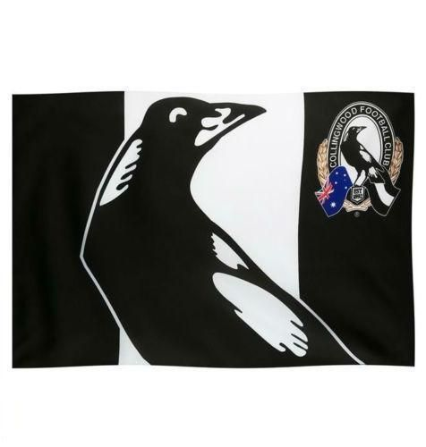 Collingwood Magpies AFL Game Day Supporter Flag on Stick
