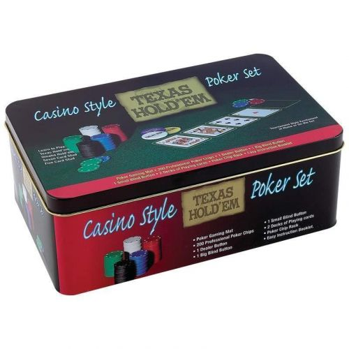 Casino Style Texas Hold'em Poker Set Card Game in Tin