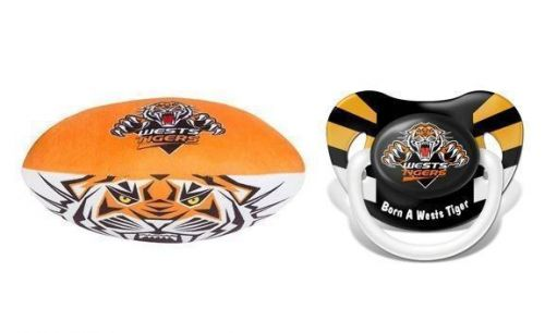 Set Of 2 Wests Tigers NRL Team Logo Child Plush Football & Pacifier Dummy