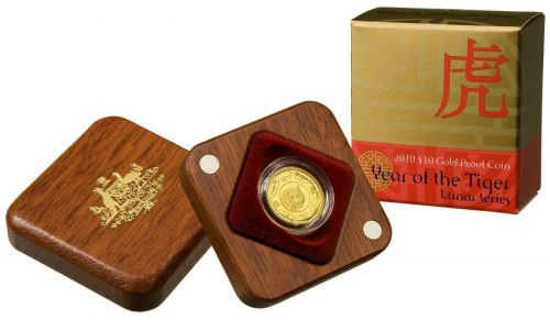 2010 Year of the Tiger Lunar Series $10 Gold Proof Coin #349 Royal Australian Mint