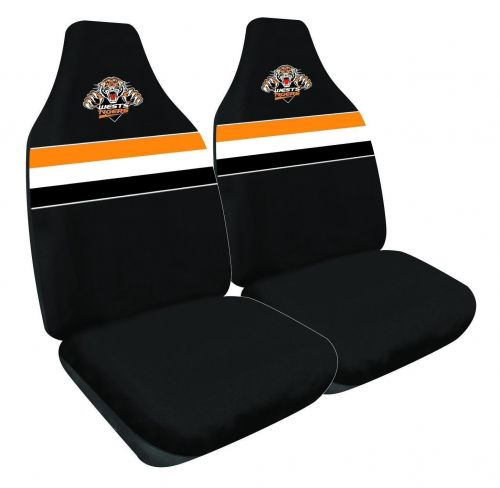 Wests Tigers NRL Set Of 2 Size 60 High Back Bucket Air Bag Compatible Front Seat Covers