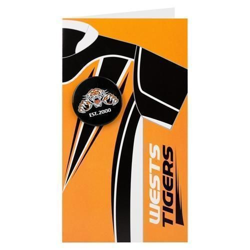 West Tigers NRL Blank Birthday Gift Card With Badge & Envelope