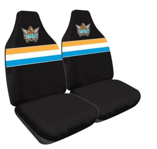 Gold Coast Titans NRL Set Of 2 Size 60 High Back Bucket Air Bag Compatible Front Seat Covers