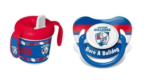 Set Of 2 Western Bulldogs AFL Team Logo Infant Baby Dummy Pacifier & 2 Handle 250ml Training Sippy Sipper Cup