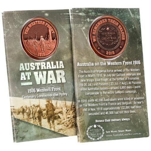Western Front Commemorative Penny Coin ANZAC Australia in The Great War Military
