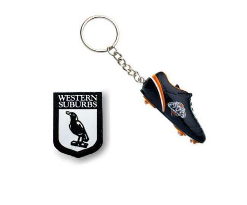 Set of 2 Western Suburbs Magpies NRL Team Heritage Logo Collectable Lapel Hat Tie Pin Badge & Wests Tigers Resin Boot Key Ring Keyring