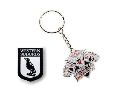 Set of 2 Western Suburbs Magpies NRL Team Heritage Logo Collectable Lapel Hat Tie Pin Badge & Wests Tigers Mascot Metal Key Ring Keyring