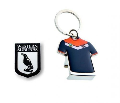 Set of 2 Western Suburbs Magpies NRL Team Heritage Logo Collectable Lapel Hat Tie Pin Badge + Wests Tigers Jersey Bottle Opener Key Ring Keyring
