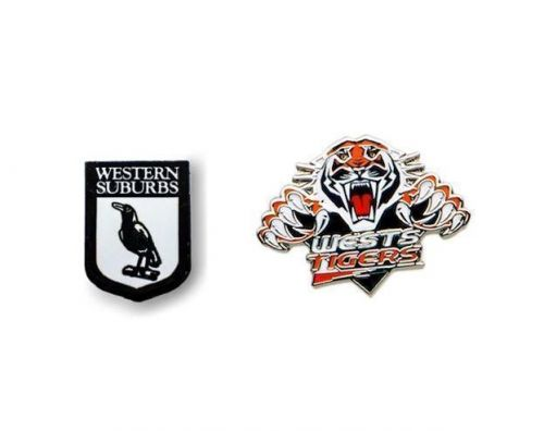 Set of 2 Western Suburbs Magpies NRL Team Heritage Logo Collectable Lapel Hat Tie Pin Badge + Wests Team Logo Pin Badge