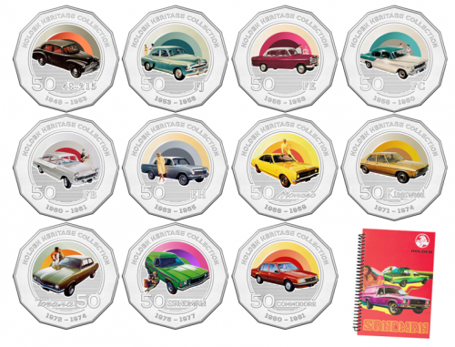 2016 Set of 11 Holden Heritage Collection Coins Coloured Uncirculated 50c Coin + Free Sandman Notebook