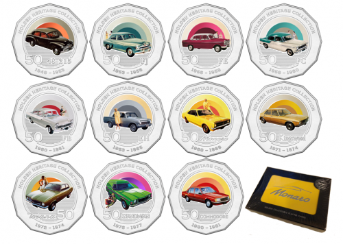 2016 Set of 11 Holden Heritage Collection Coins Coloured Uncirculated 50c Coin + Free Yellow Tin of Monaro Playing Cards