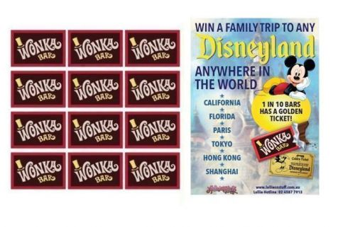 12 x Wonka Bar 50g Edible Milk Chocolate Bar FIND A GOLDEN TICKET - FOR A CHANCE TO WIN A FAMILY TRIP TO ANY DISNEYLAND ANYWHERE IN THE WORLD